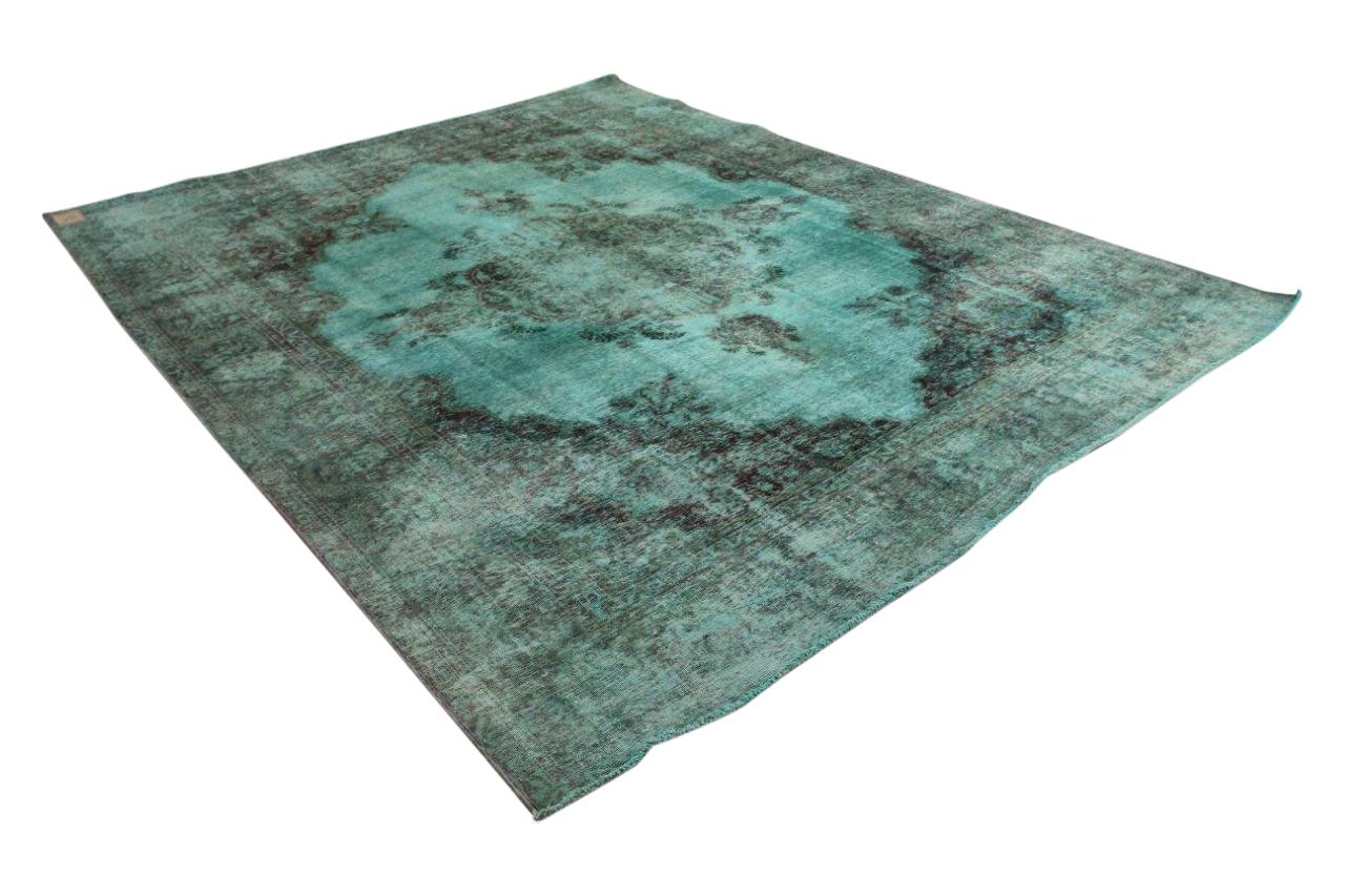 Aqua blauw vintage vloerkleed 350cm x 285cm