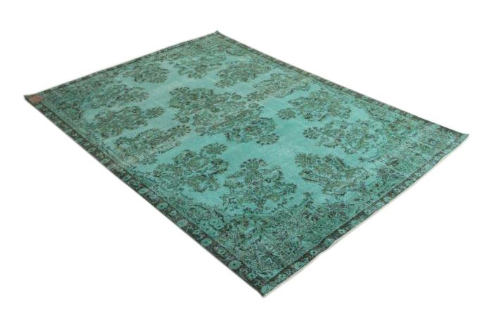 Vintage felblauw vloerkleed