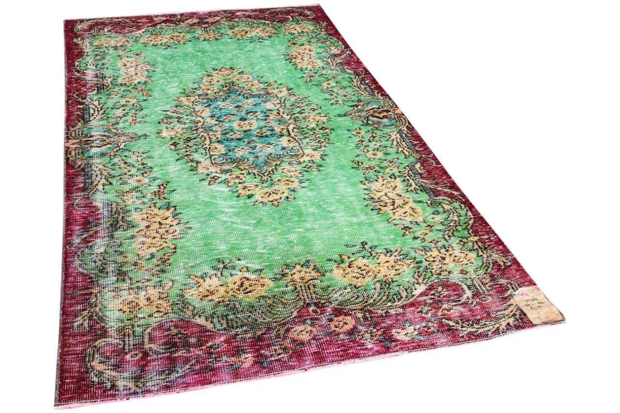 vintage vloerkleed groen, rood 25367 255cm x 150cm