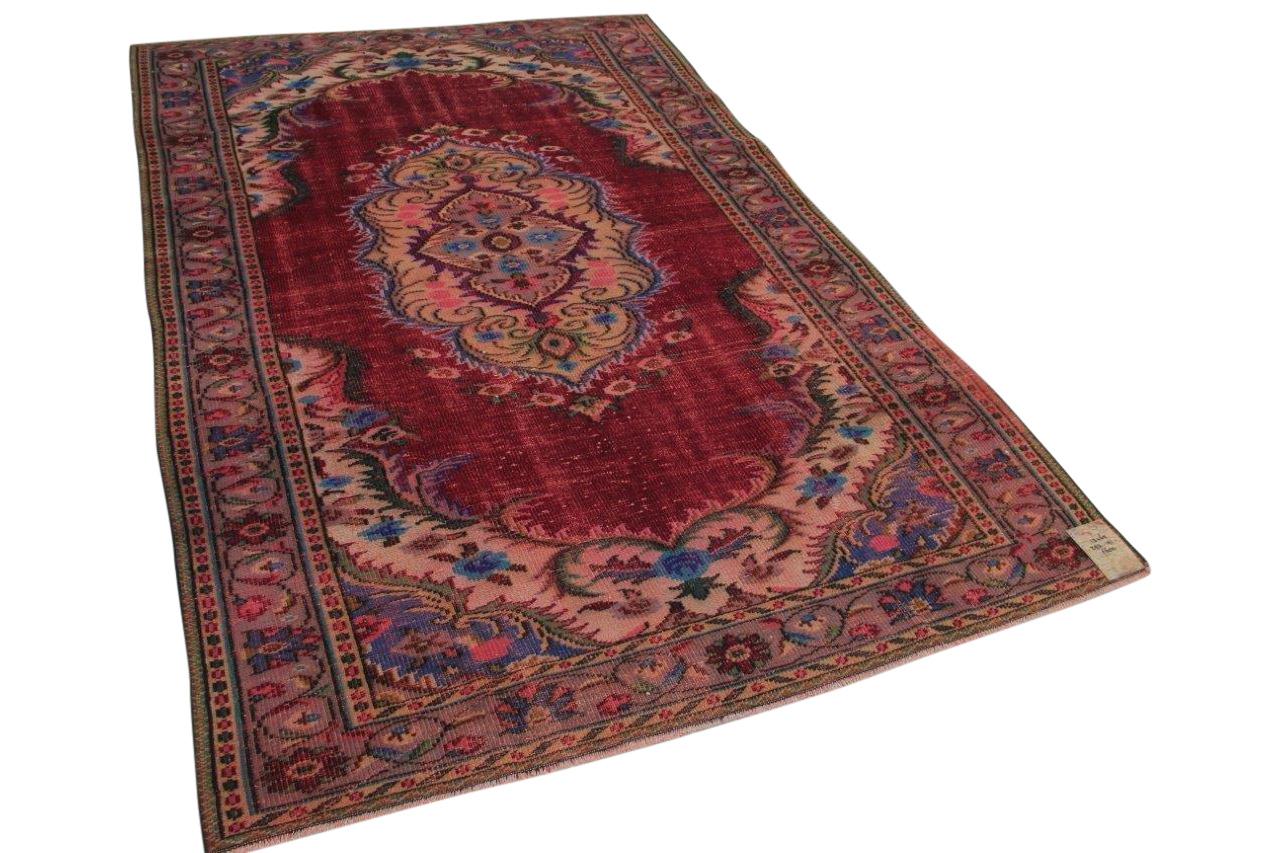 rood met blauw vloerkleed vintage 293cm x 181cm
