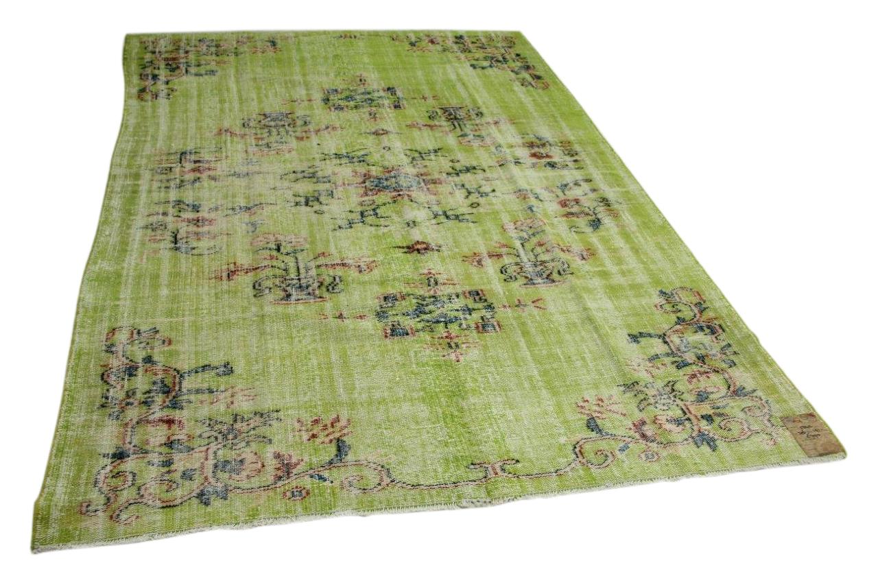 vintage vloerkleed groen 306cm x 191cm nr5843