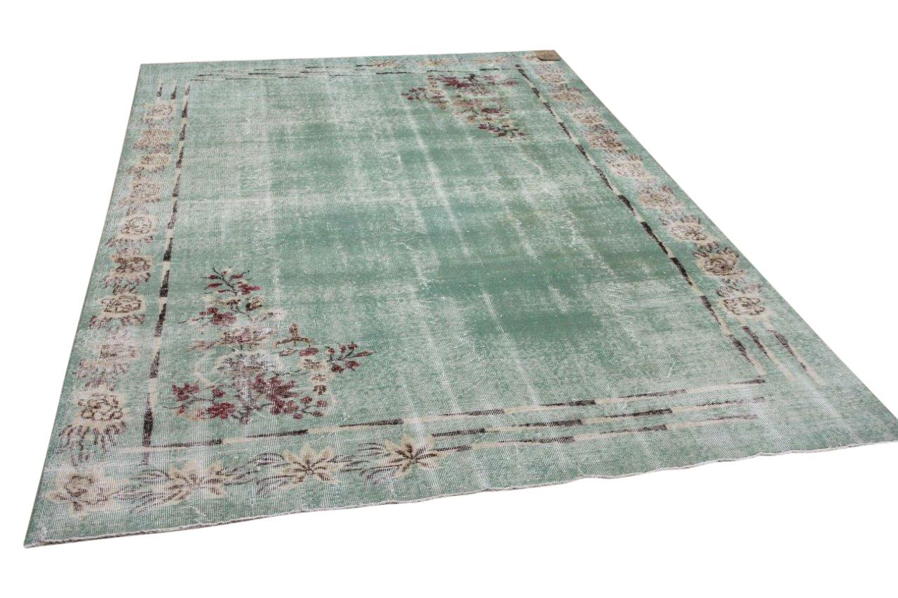 Vintage vloerkleed groen 14886 296cm x 205cm