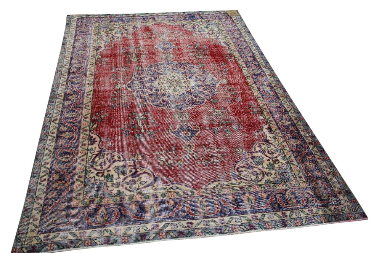 Vintage vloerkleed rood, blauw 34395 278cm x 162cm