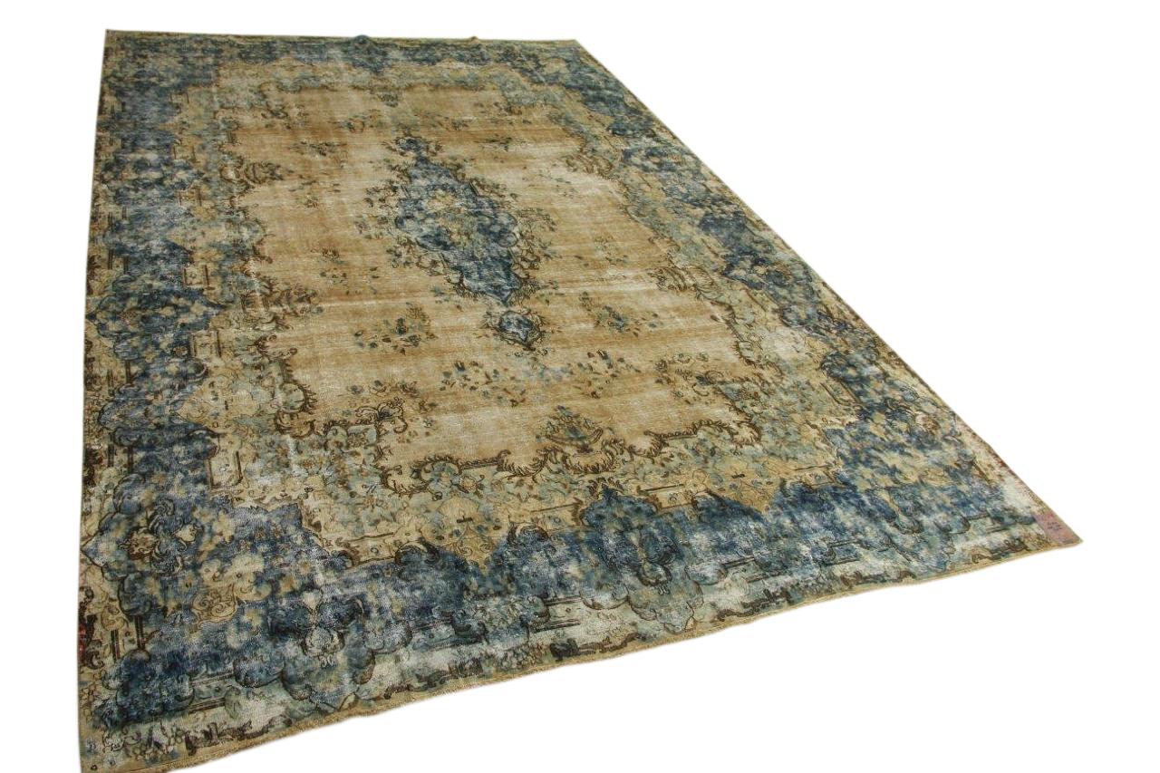 Vintage vloerkleed, zandkleurig met blauw 448cm x 295cm nr55704