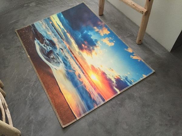 UITVERKOOP Badmat ondergaande zon 100cm x 70cm 100% polyester