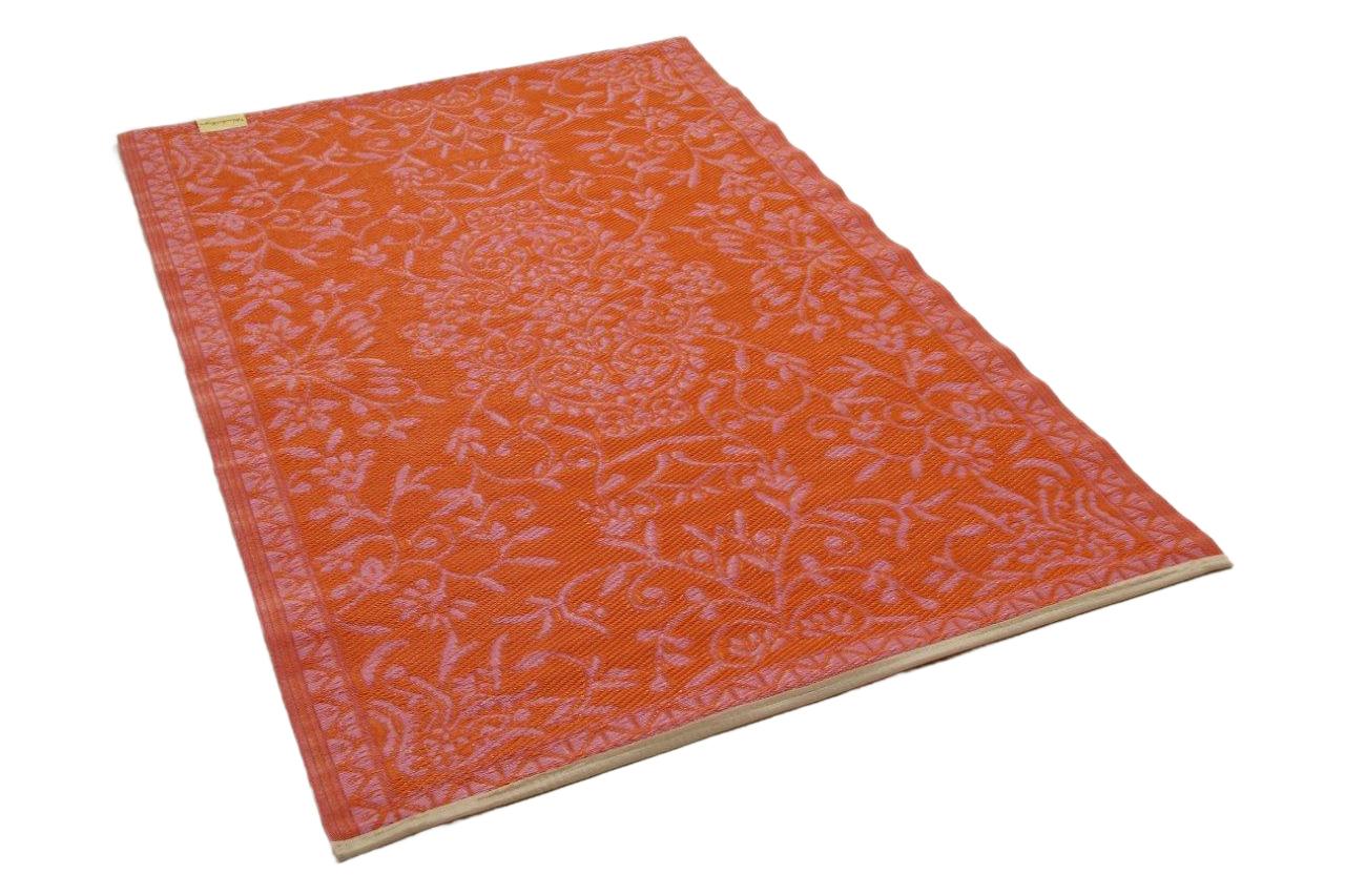 Afbeelding van Buitenkleed oranje roze van gereycled gevlochten kunststof 180cm x 120cm