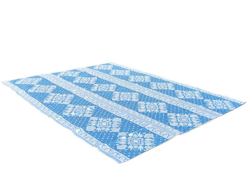 Afbeelding van Buitenkleed blauw wit van gerecycled gevlochten kunststof 360cm x 270cm