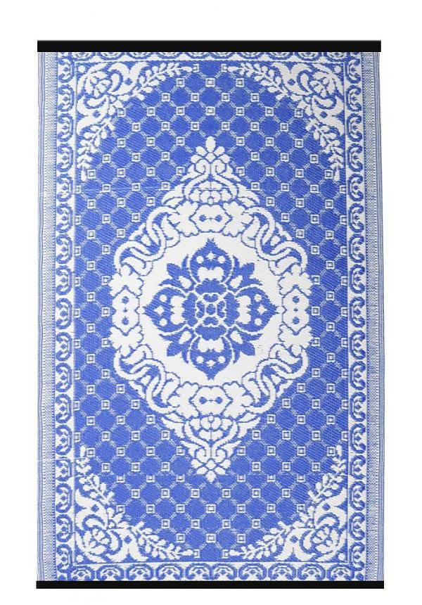 Afbeelding van Buitenkleed blauw wit van gerecycled gevlochten kunststof 270cm x 180cm