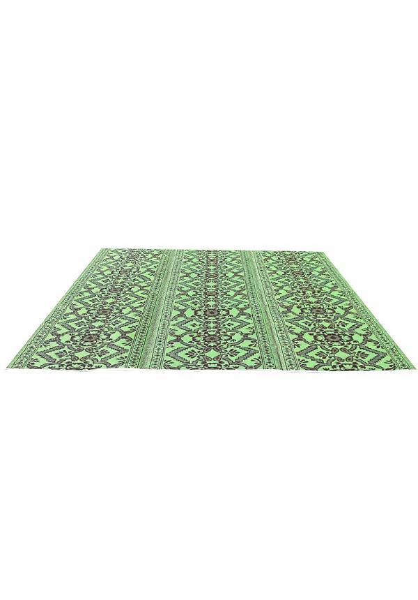 Afbeelding van Buitenkleed groen bruin van gerecycled gevlochten kunststof 360cm x 270cm