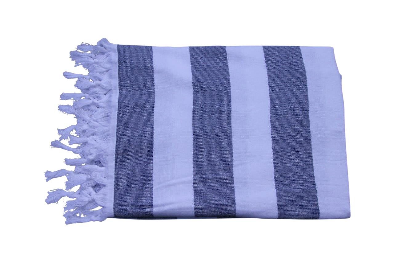Afbeelding van hamamdoek blauw achterkant badstof 180cm x 105cm
