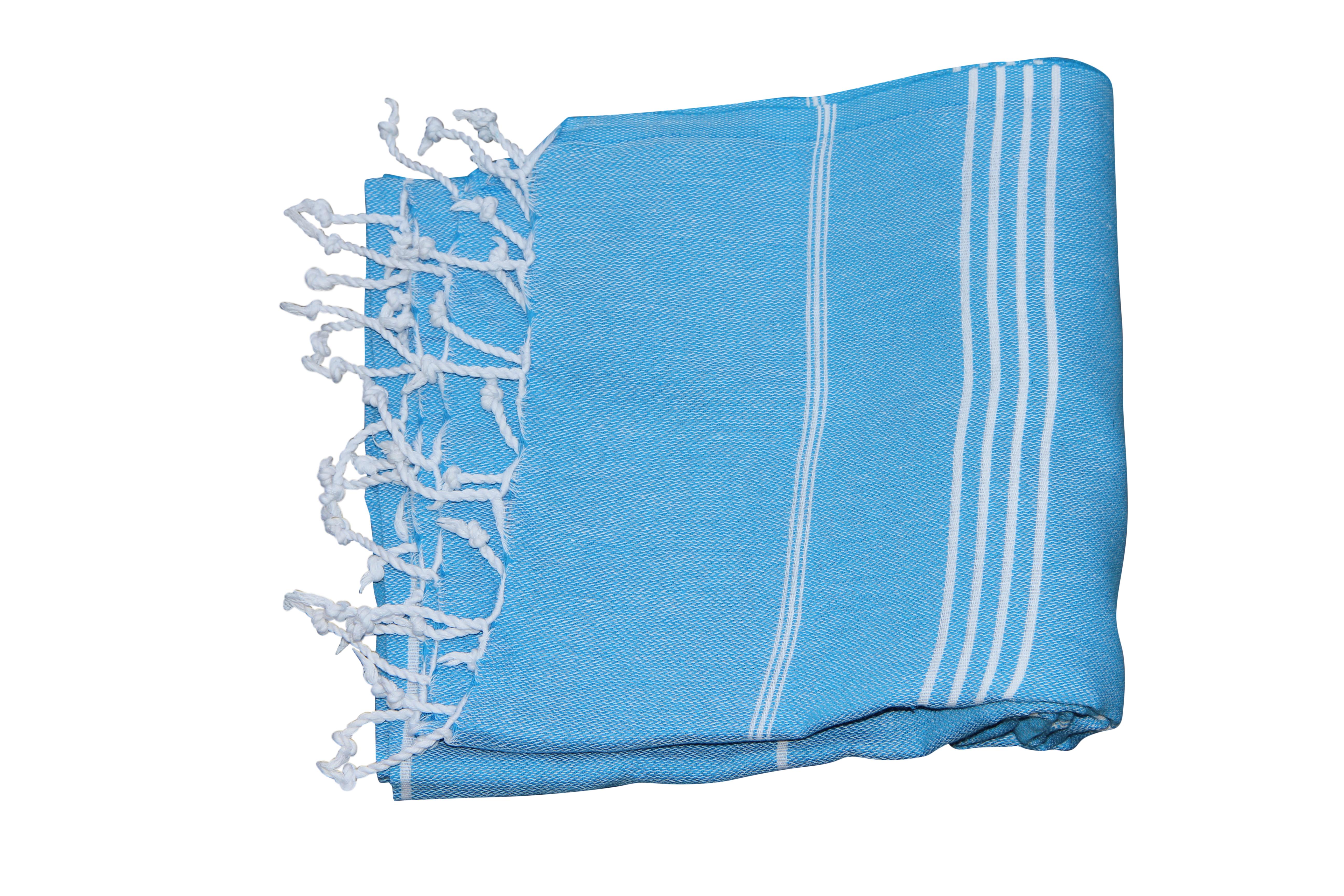 Afbeelding van Hamamdoek Aqua blauw 100% katoen (180cm x 100cm) 100% geweven katoenen