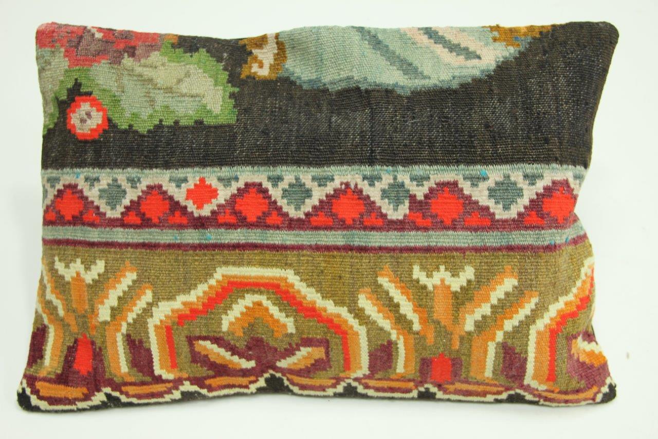 Afbeelding van kelimkussen nr 1828 (60cm x 40cm) incl. binnenkussen. Kussen gemaakt van authentieke rozenkelim