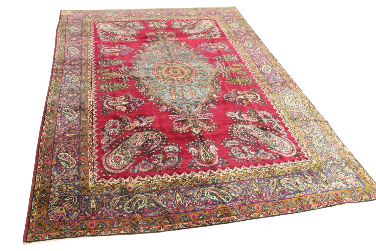 Afbeelding van Antiek Kirman vloerkleed 300cm x 200cm 90 jaar oud