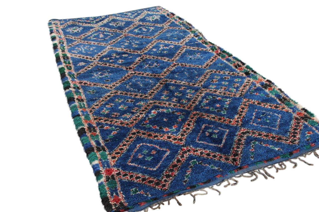 Afbeelding van Beni mguild blauw, 424cm x 197cm hoogpolig vloerkled