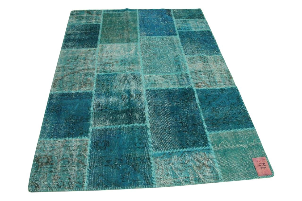 Afbeelding van blauw patchwork vloerkleed 225cm x 160cm