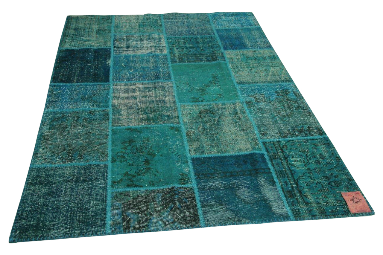 Afbeelding van blauw patchwork vloerkleed 238cm x 172cm