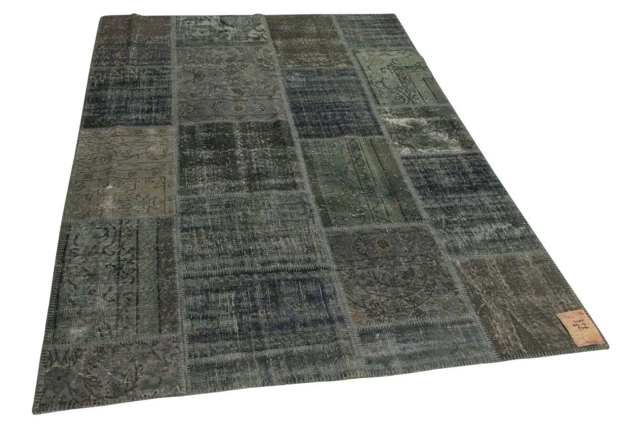 grijs, blauw patchwork vloerkleed 242cm x 171cm
