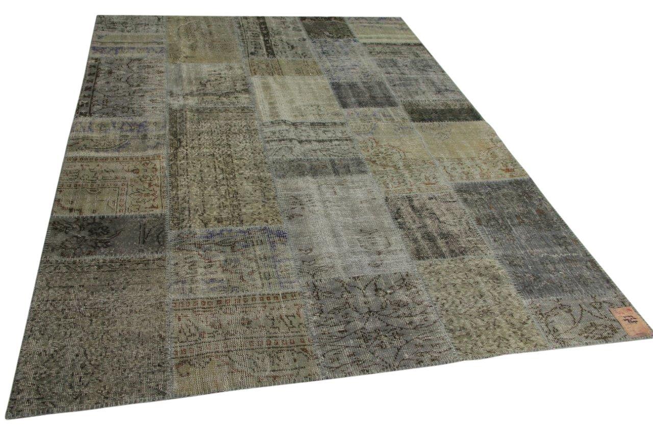 grijs patchwork vloerkleed 305cm x 210cm