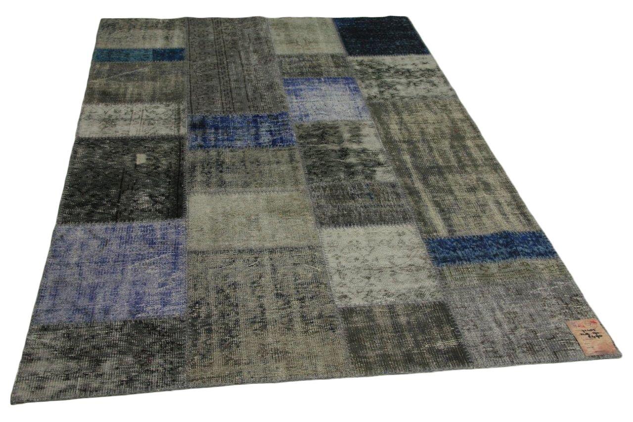grijs, blauw patchwork vloerkleed 248cm x 170cm