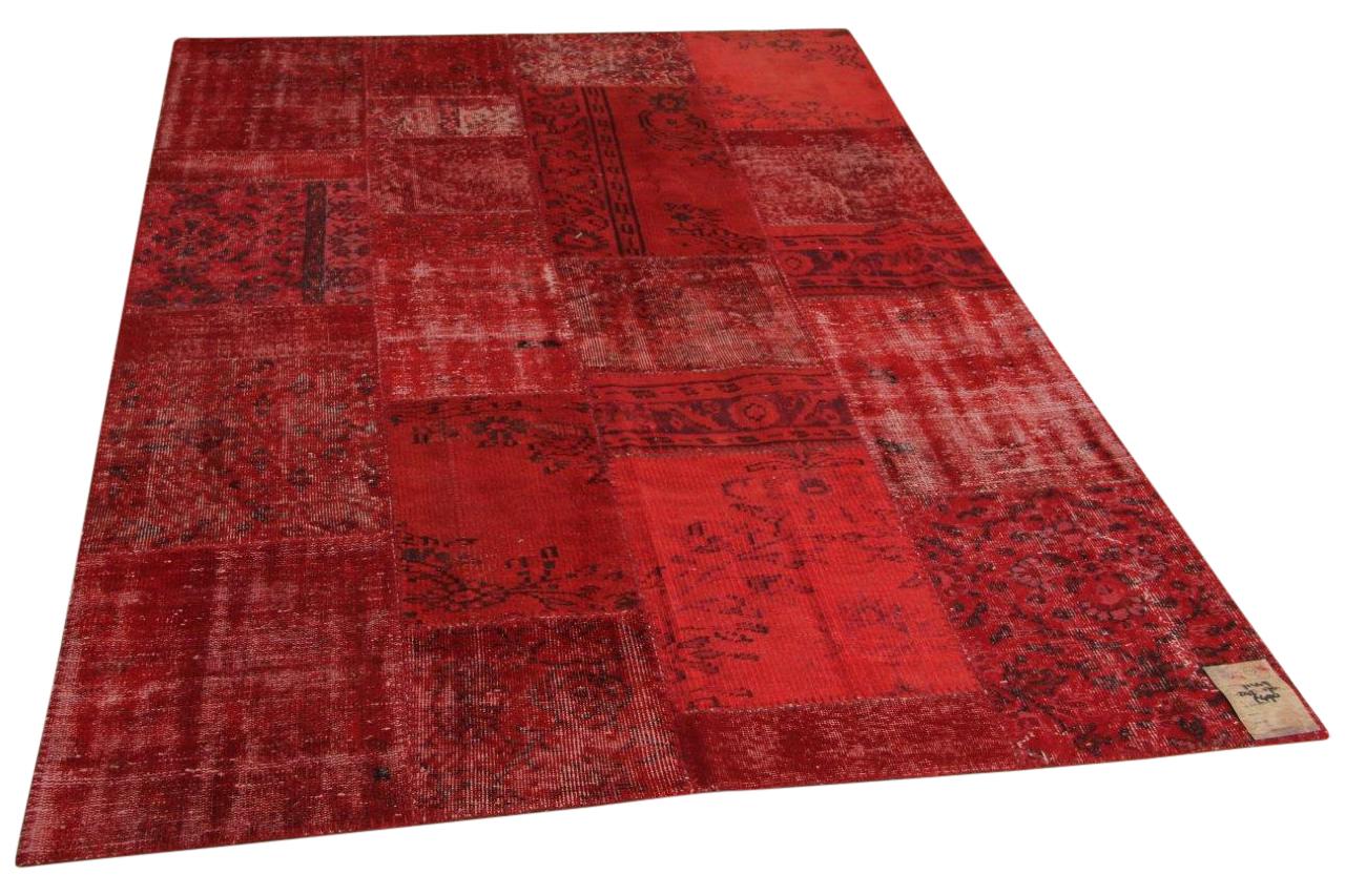 rood patchwork vloerkleed 245cm x 170cm